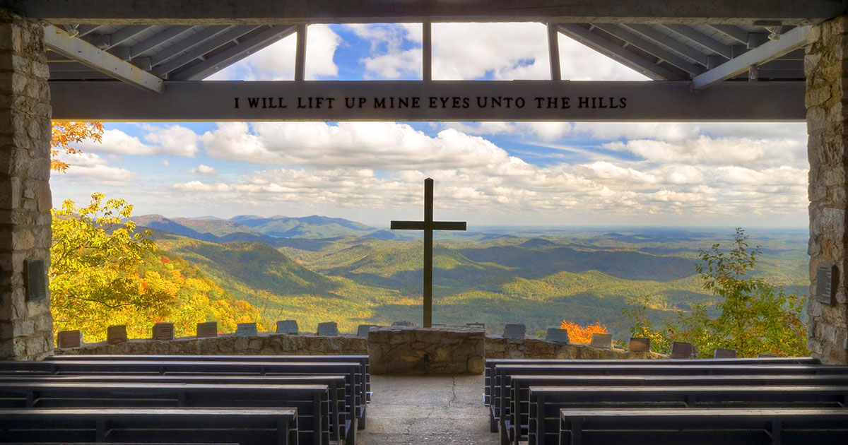 The view of the mountains from inside the chapel.
