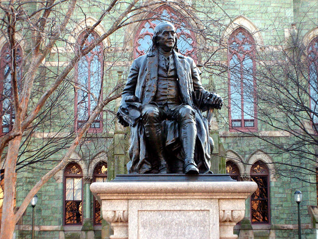 The University of Pennsylvania traces its roots to Benjamin Franklin, whose statue remains one of the iconic places on the campus and can be found directly in front of College Hall