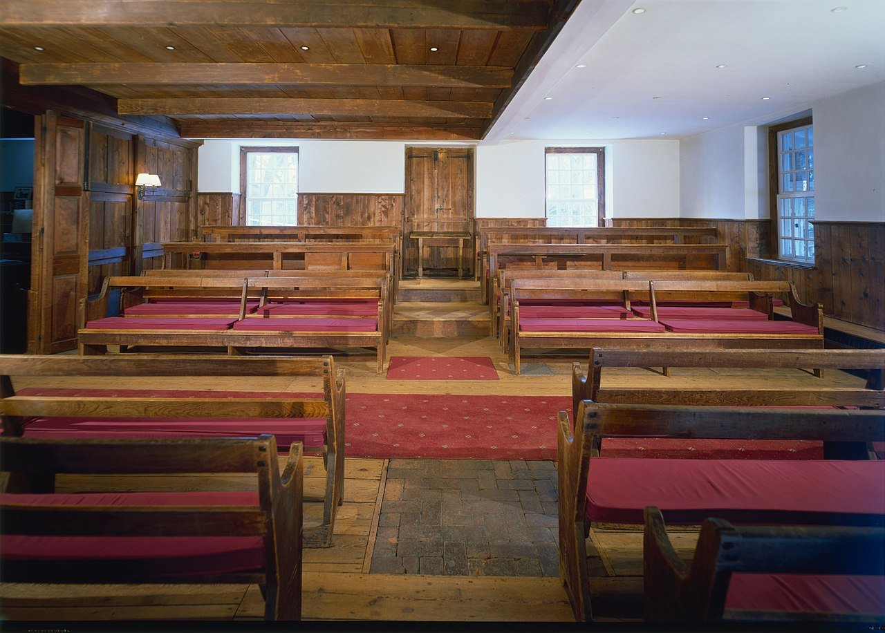 The interior of the meetinghouse.  Notice the moveable partition on the left.