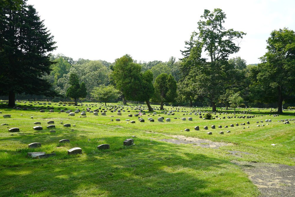 The associated cemetery has over 2,500 headstones, some dated as early as the 1790s.