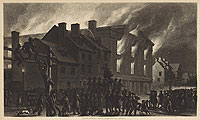 A contemporary artist's rendition of the destruction of Pennsylvania Hall helped raise awareness of the crime and the attacks against abolitionists in Philadelphia that peaked in 1842.