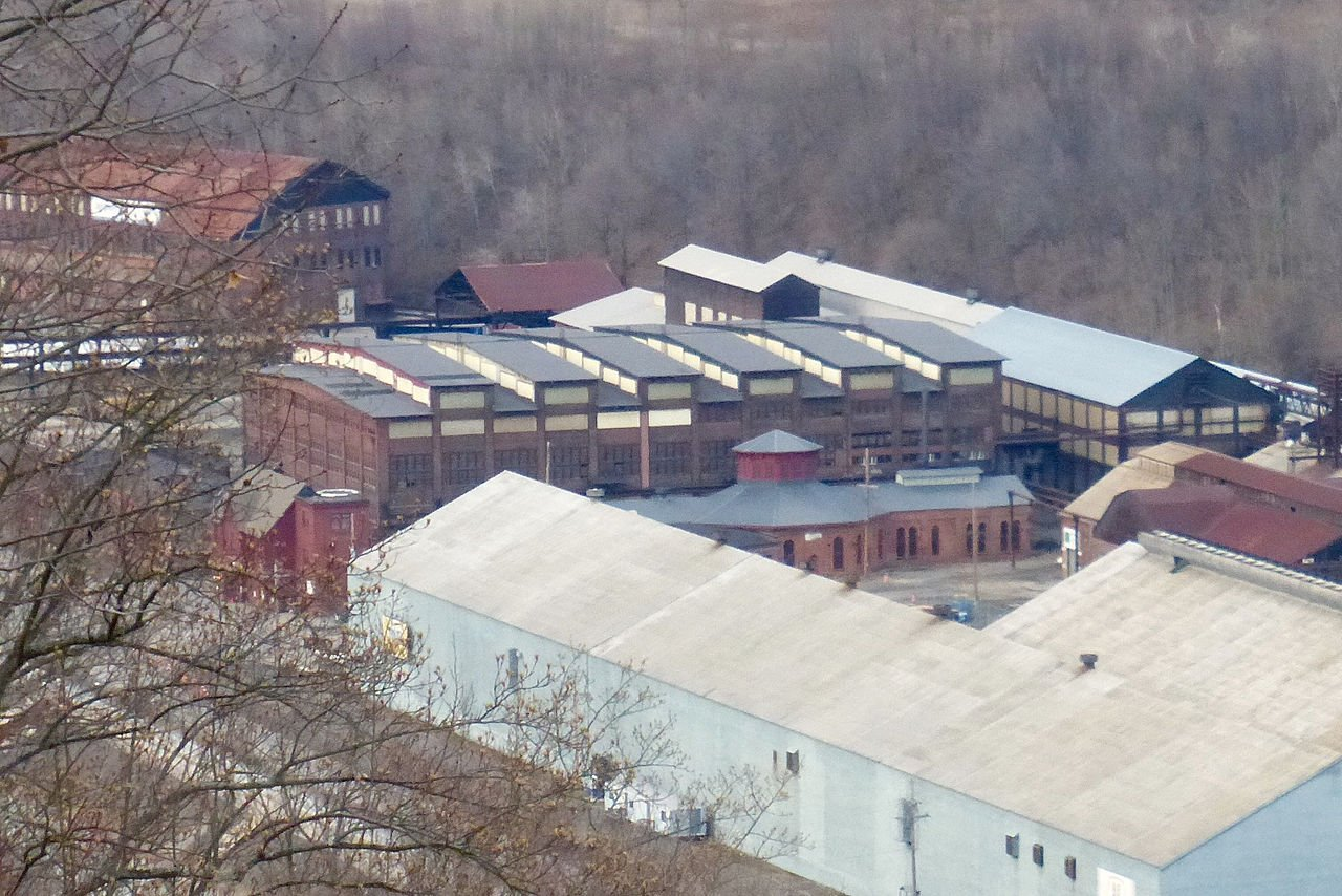 The two main buildings of the remnants of the Cambria Iron Company, the blacksmith shop (with octagonal cupola) and the machine shop which sits behind it.