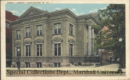 Postcard showing the library in 1929