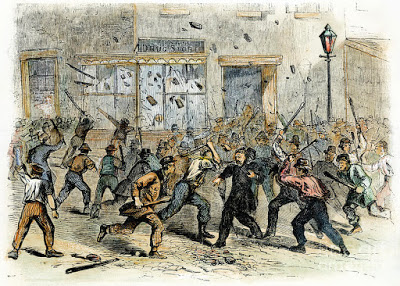 A contemporary artist's rendition of racially-motivated attacks against abolitionists in Philadelphia that peaked in 1842.