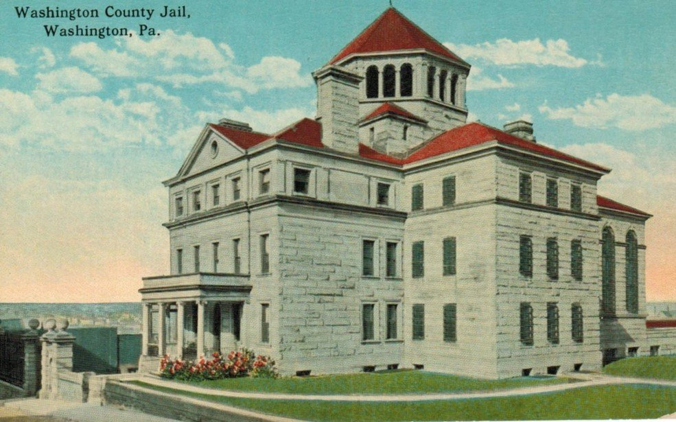 A postcard of the old Washington County Jail.