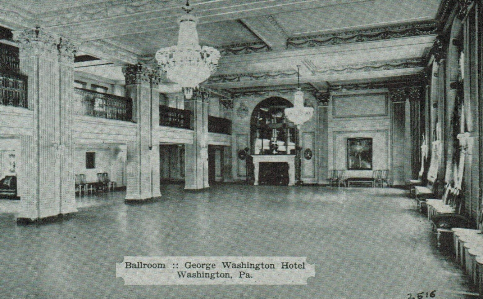 Another postcard of a ballroom inside the hotel.