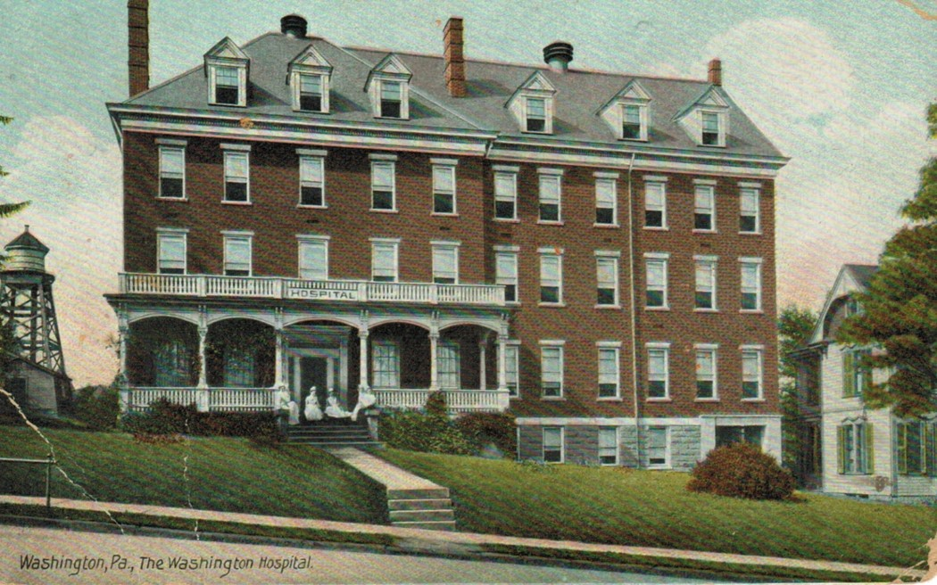 This is a postcard showing a picture of the 1897 Washington Hospital located on Acheson Ave.