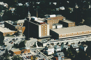 This is a picture of the Washington Hospital in the late 70s and early 80s. A multi-storied employee parking garage was added, and the emergency department and outpatient department and physical therapy center were expanded and remodeled.
