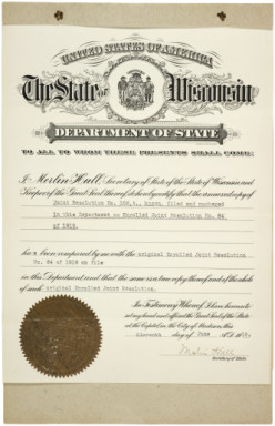 On June 10, Wisconsin became the first state to ratify the 19th Amendment. Illinois ratified the amendment several hours later.