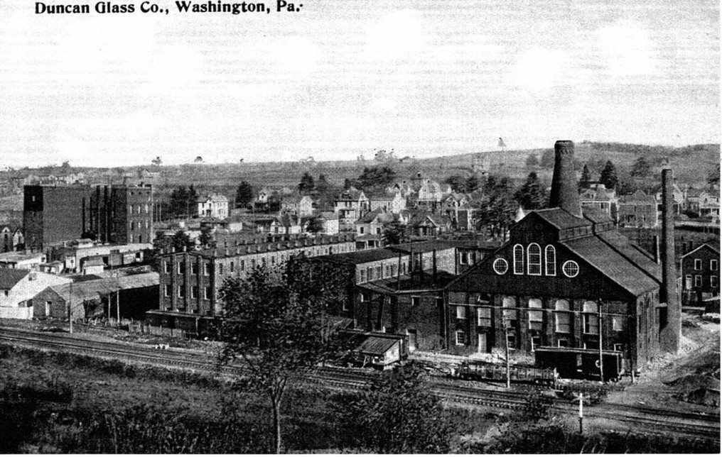 Postcard of Duncan Glass Company located in Washington, PA.