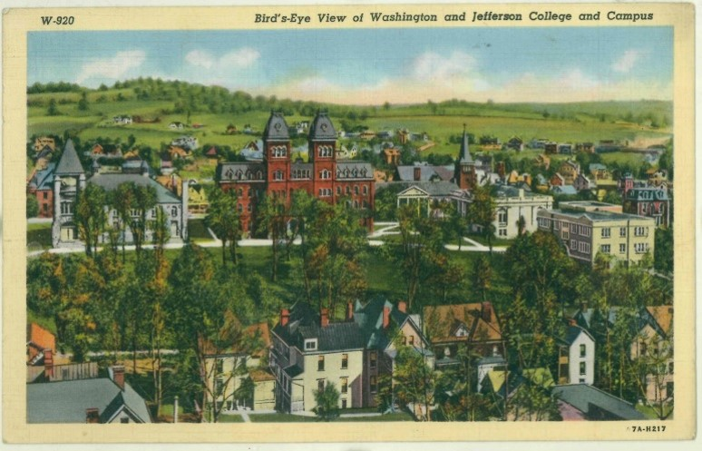 """A vintage """"Bird's eye view"""" postcard of Old Main on the Washington and Jefferson College campus issued on August 14 1949 in Union Town PA."""