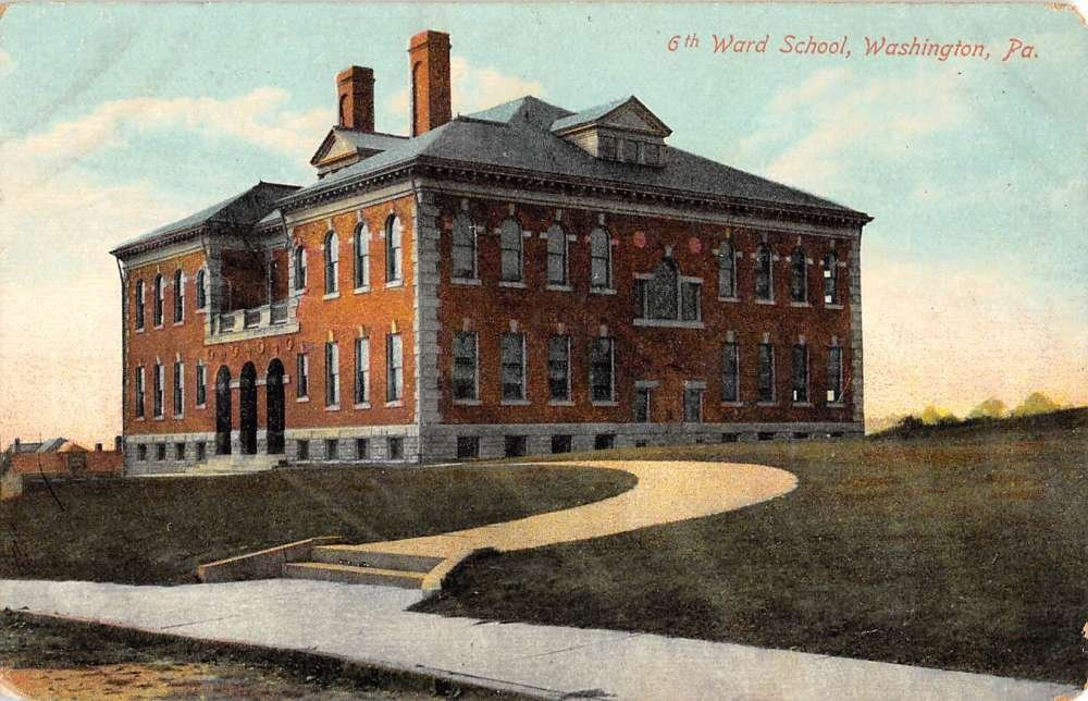 A postcard of the Sixth Ward School taken in the 1910s.