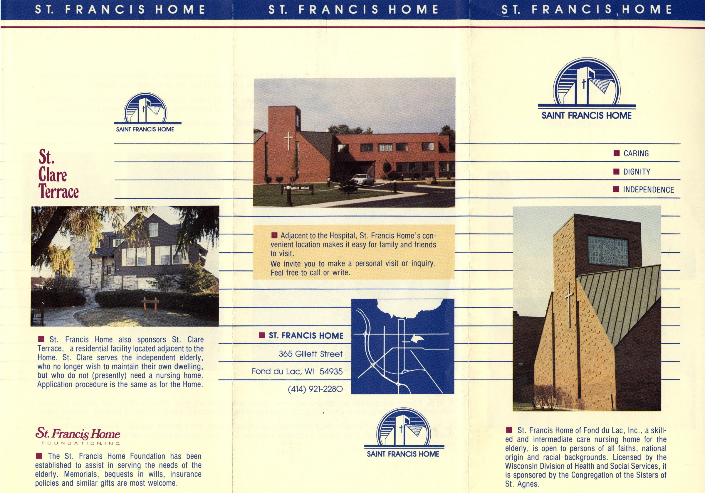 Brochure for St. Francis Home and St. Clare Terrace, 1990s.