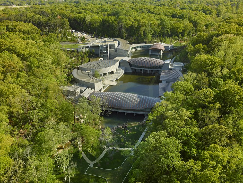 Aerial view of Crystal Bridges Museum of American Art. Photo by Tim Hursley