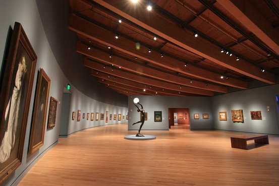 The museum's gallery of late-19th-century works, with Harriet Whitney Frishmuth's bronze and glass statue, 'The Bubble.' Credit: Crystal Bridges Museum