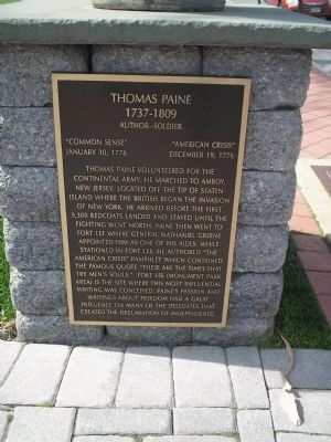Photograph of the Thomas Paine Historical Marker.