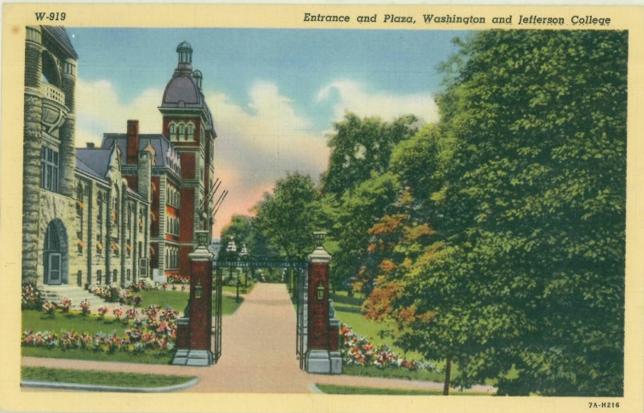 1940s postcard of North Gate at Washington & Jefferson College.