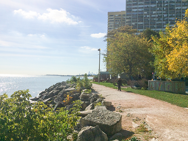 Berger Park Shoreline: Once a beach, the rocky wall was built to protect Berger Park in the 1980s. Photo: Alan Watkins (2015).