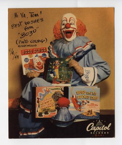 Image of Colvig as Bozo the Clown.