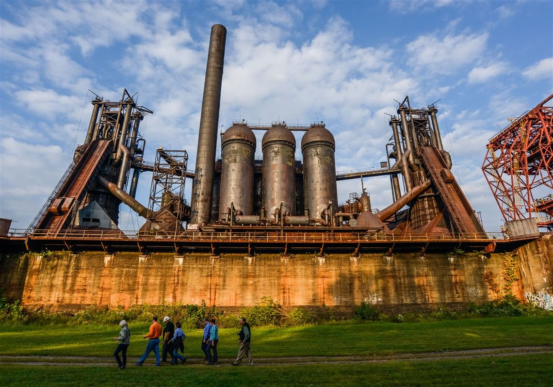 The remnants of the Carrie Furnace remind all who view it of Pittsburgh's industrial past.