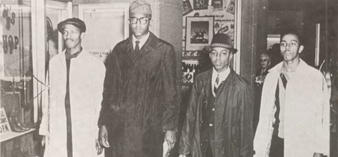 A&T Four, photographed by Jack Moebes on February 1, 1960, as they left the Woolworth that day. From left to right, David Richmond, Franklin McCain, Ezell Blair, Jr., and Joseph McNeil.