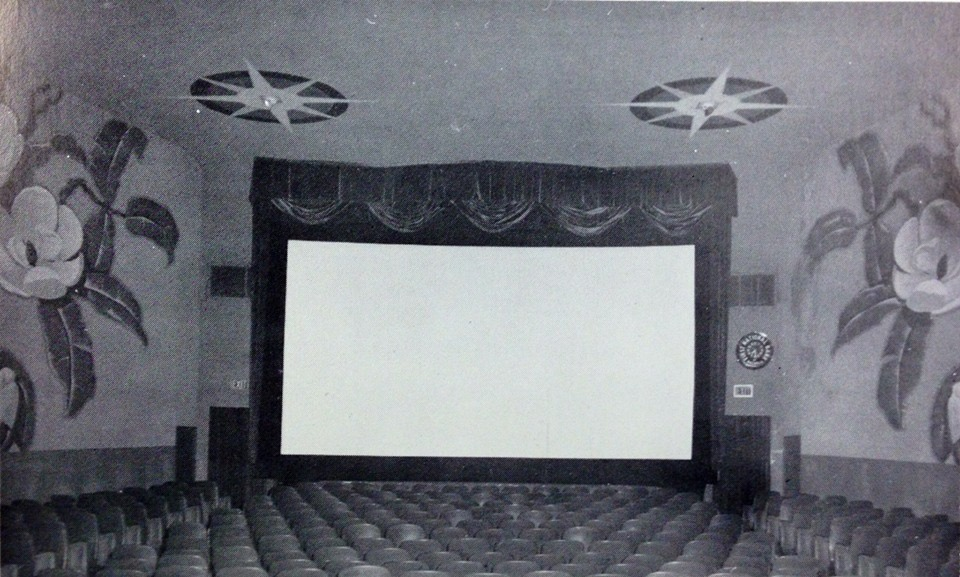 The Cameo Theatre was a one screen theater with neon embedded walls and huge Magnolia murals on each wall.