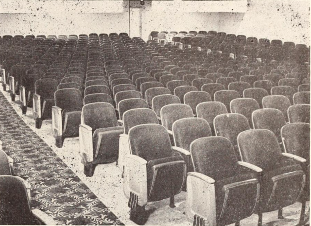 """Sliding seat in the Cameo are the Nation's first."" The Cameo Theatre opened with a special new seating and was touted as being the first theater to have received this new design."