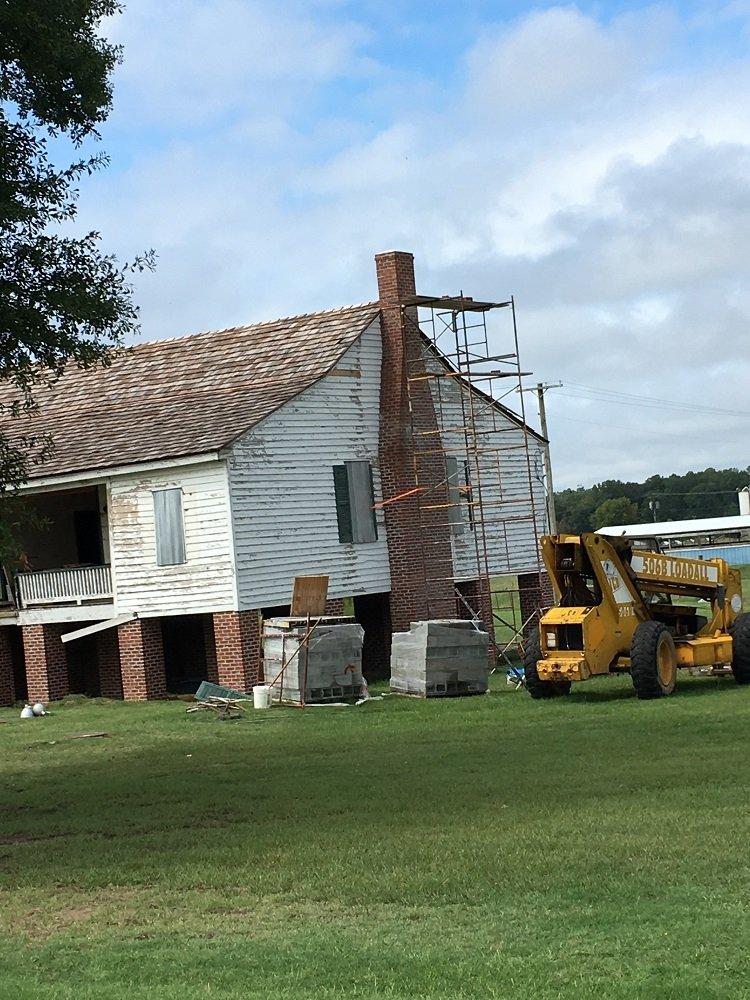 Alexander house during chimney restoration.