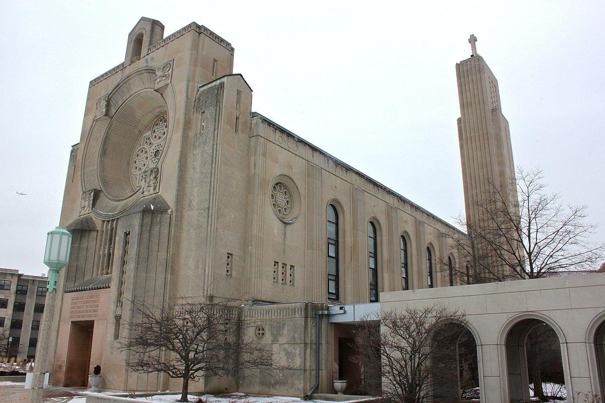 Eastward facing (towards Lake Michigan) side of Loyola University's Madonna Della Strada Chapel.