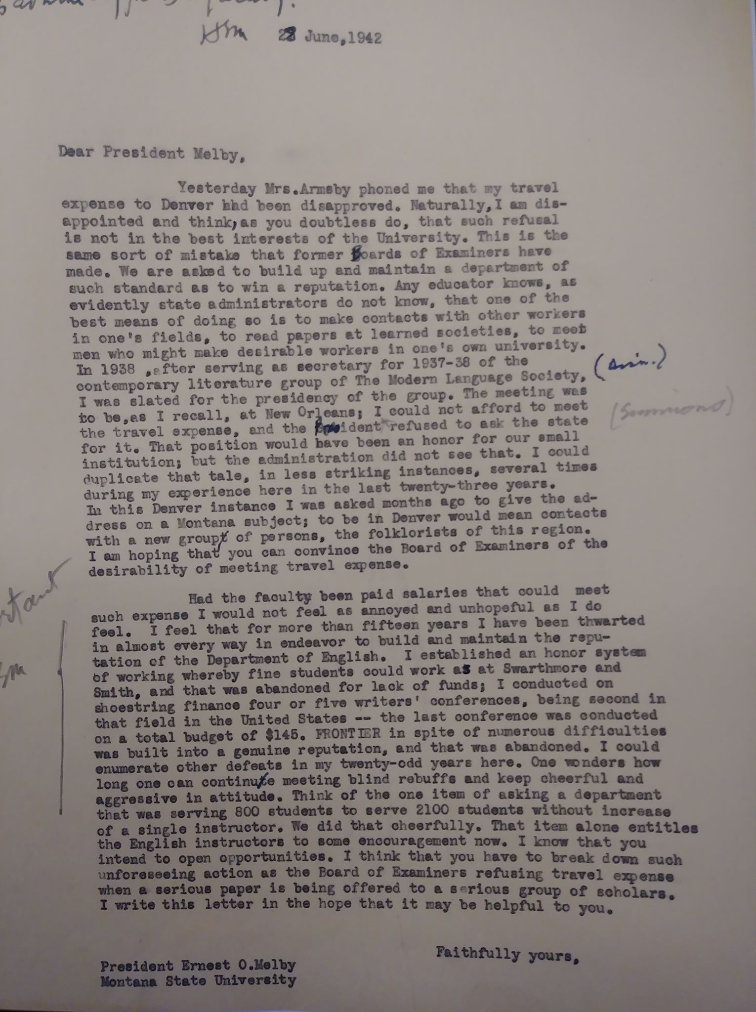 A 1942 letters expressing concern about English professors' salaries