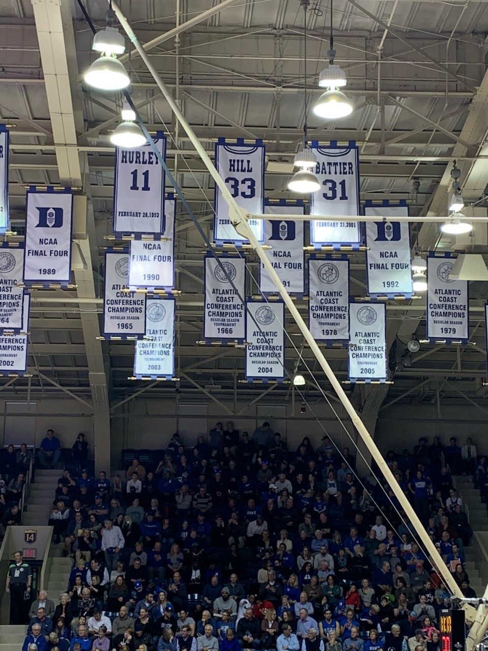 Among the decor that is spread across Cameron Indoor Stadium, the retired jerseys of Duke basketball greats such as Bobby Hurley hang from the ceiling.
