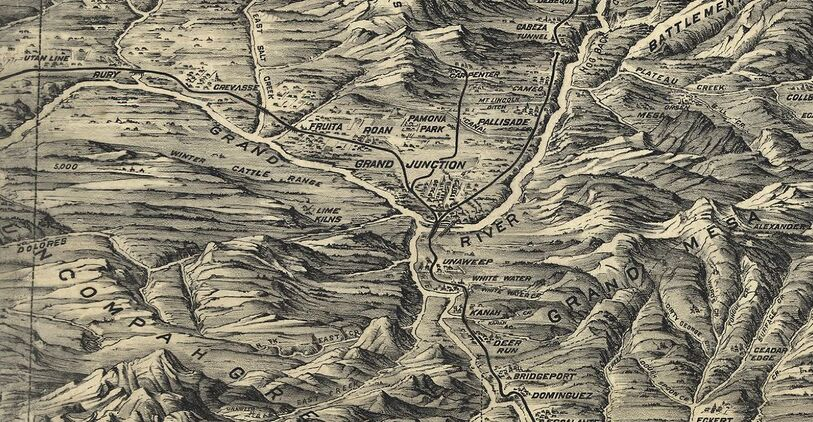1894 birds-eye relief map of Grand Junction vicinity (Pezolt & McConnell)
