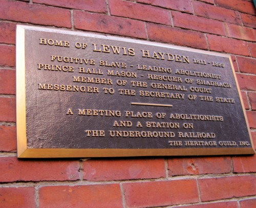 Plaque at the front entrance to the Lewis and Harriet Hayden House