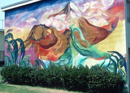 "An Estrada Courts Mural titled, ""Organic Stimulus."""