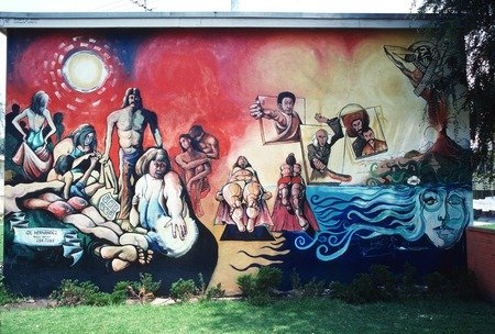 "An Estrada Courts Mural titled, ""Sun Bathers."""