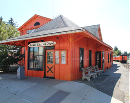 The excursions begin at the Arcade Railroad Depot, which also features a small museum and gift shop inside.