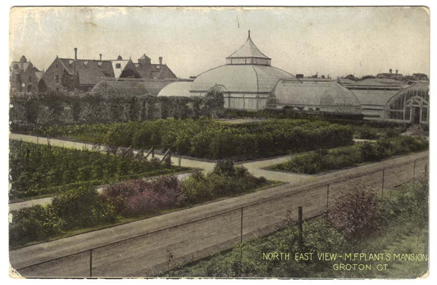 This postcard depicts what the greenhouses and fields looked like.