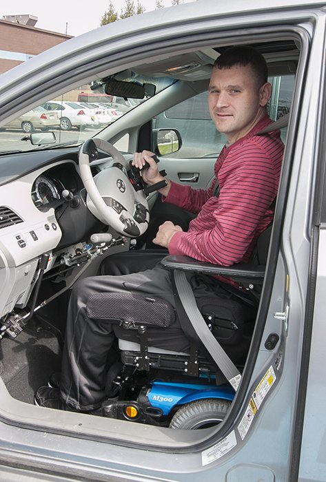 An example of vehicle modification, one of the ways that DRS helps impaired individuals maintain independence.