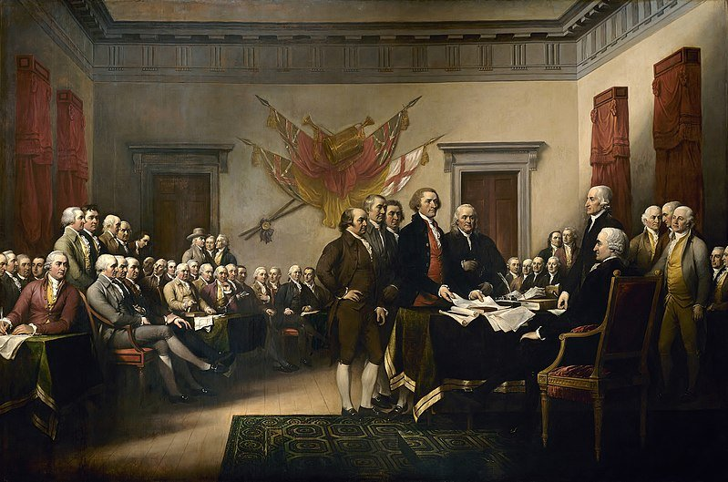 John Trumbull's painting, the Declaration of Independence, hangs in the U.S. Capitol building rotunda.
