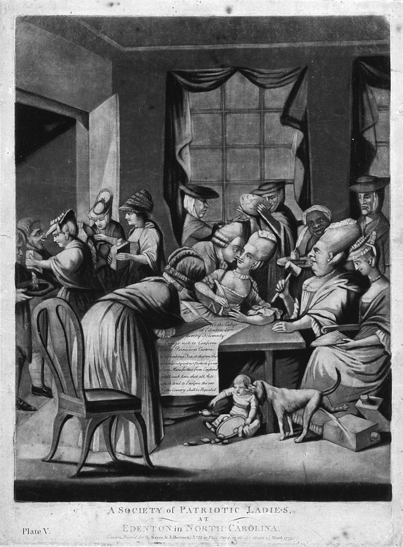 A British political cartoon satirizing the women of the Edenton Tea Party.