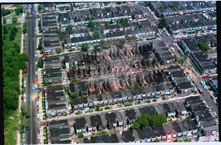 An Aerial View Showing the Extent of the Fire Damage
