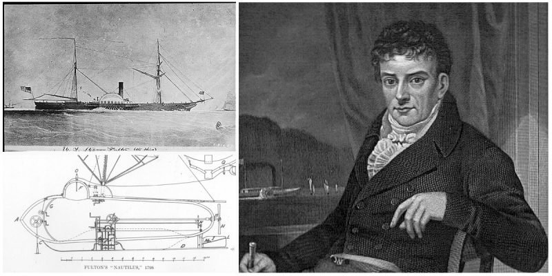 A portrait of Fulton with a drawing of the Clermont and a drawing of his submarine design.