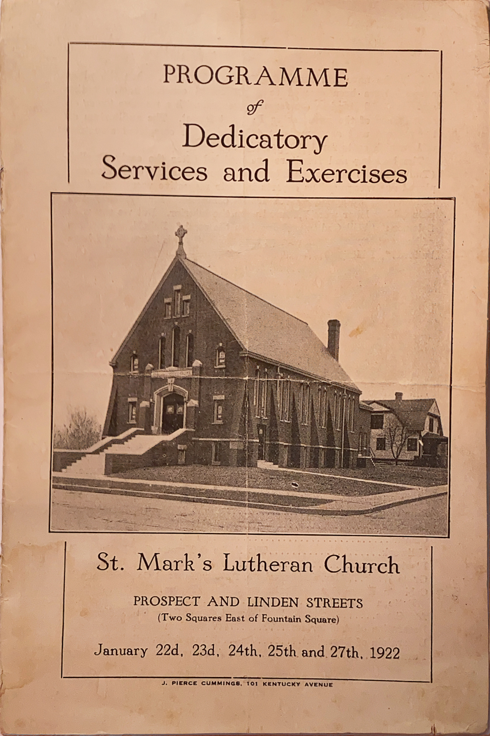 Cover of the pamphlet handed out to celebration-goers at the 1922 dedication of the current church building's first unit.