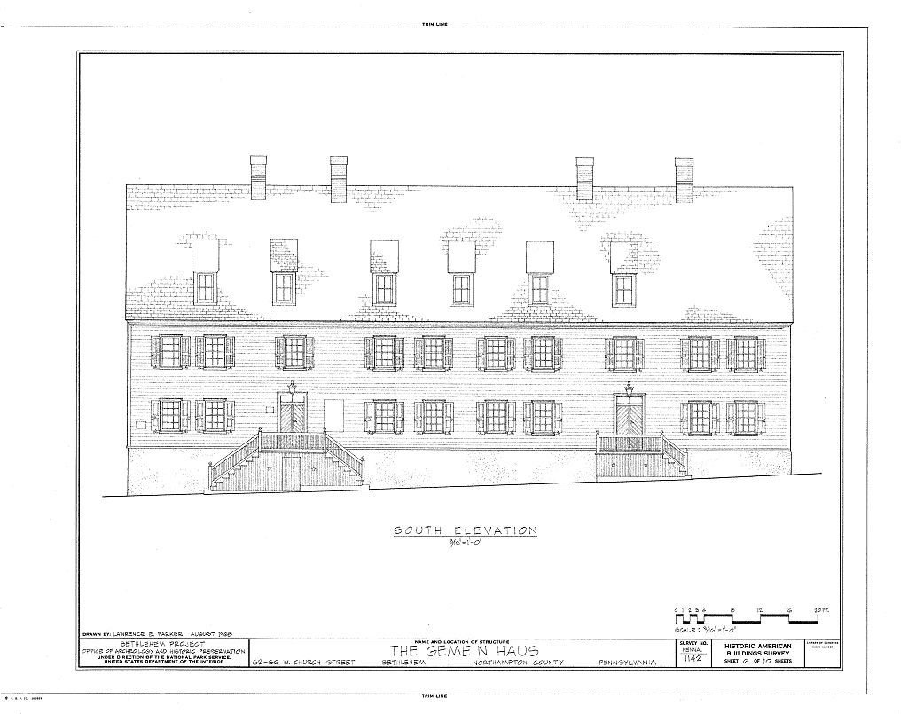 An architectural drawing of the Gemeinhaus.