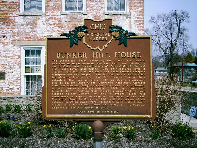 Bunker Hill House's historical marker inscribing in great detail the multiple uses of this house including being a stage coach, a store, and a historic underground railroad sight.