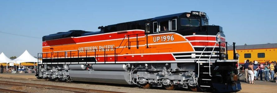 Union Pacific heritage unit based on the design of a well-known Southern Pacific passenger carriage.