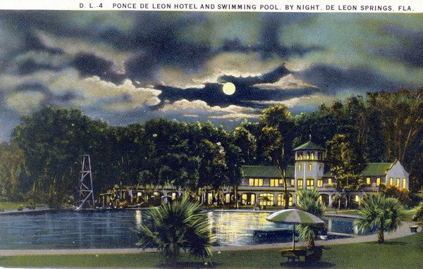 Ponce De Leon Springs Hotel & Swimming Pool At Night (1929)