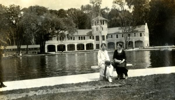 Two Ladies Sitting By Swimming Pool (1920s?)