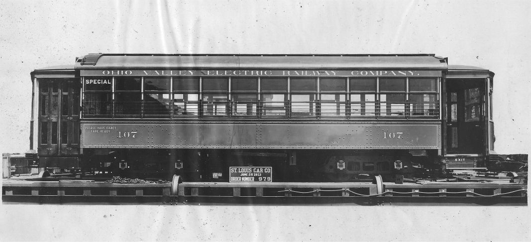 An all-steel streetcar that was produced by the St. Louis Car Company and owned by the Ohio Valley Electric Railway Company.