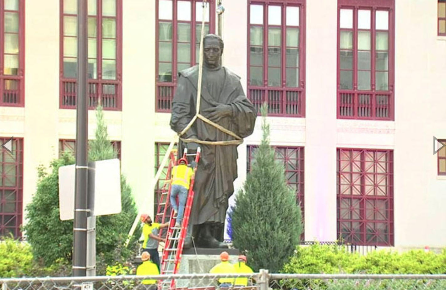 The Christopher Columbus Statue being removed on Wednesday, July 1, 2020.